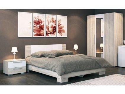 Ložnicová sestava SET1 LAGUNA 2 (skříň 3D+2xNS+postel 160) dub sonoma/bílý lesk