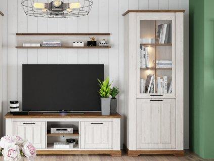 Obývací sestava COUNTRY SET1 (vitrína, tv stolek, police) andersen/dub stirling