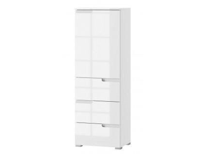 Skříň 1-dveřová se zásuvkami SELENE 11 bílá lesk