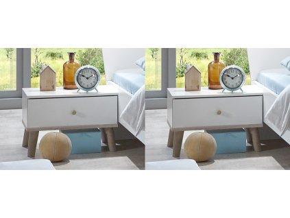 Noční stolek ( 2 ks ) BERGEN 698 bílá/dub