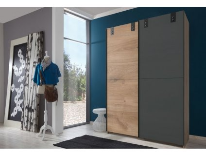 Šatní skříň s posuv. dveřmi KARIDA 770 dub/grafit