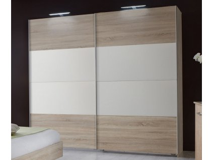 Šatní skříň s posuv. dveřmi MIRABEL 860 dub/bílá