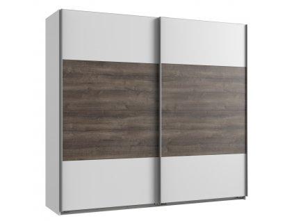 Šatní skříň s posuv. dveřmi MIRABEL 862 bílá/dub bahenní