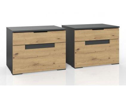 Noční stolek 2 ks KOLOMOAN 650 dub artisan/grafit