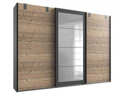Šatní skříň LOMAZA 796 stříbrná jedle/šedá grafit