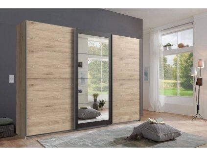 Šatní skříň s posuv. dveřmi LODOSO 796 dub/ocel/zrcadlo