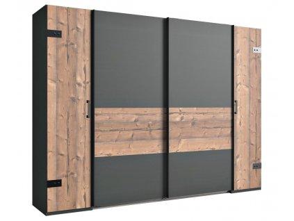 Šatní skříň LIPTON 788 stříbrná jedle/šedá grafit