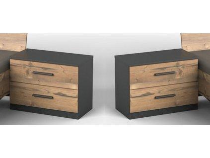 Noční stolek (2 ks ) 698 SUSAN stříbrná jedle/grafit