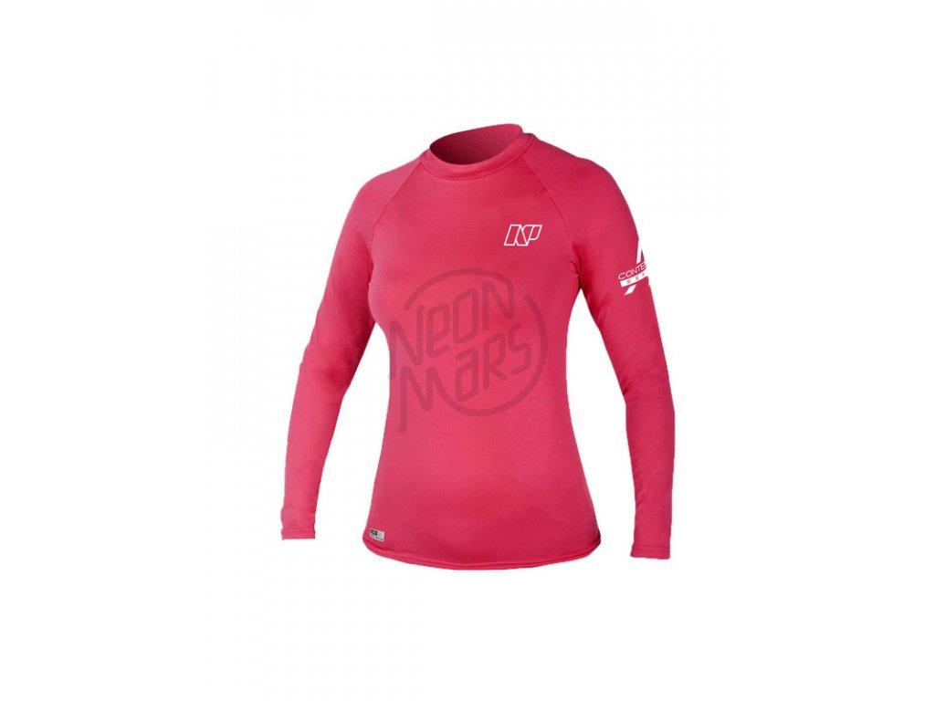 Ružové dámske lykrové tričko s dlhým rukávom NP Surf Contender Ladies' L/S