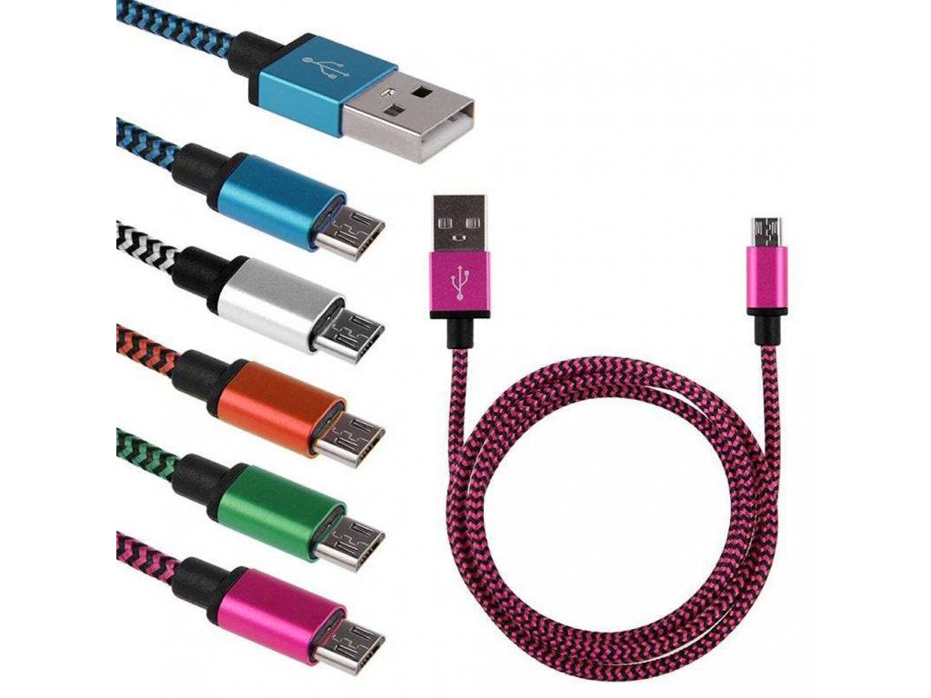 Datový kabel micro USB - USB 2.0 V8, 1m, nylon-kov