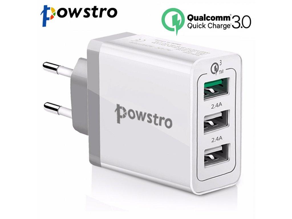 Rychlonabíječka Qualcomm Quick Charge 3.0 3×USB 30W Powstro SDC-30W