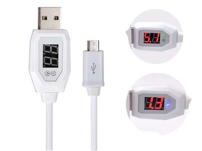 Datový kabel micro USB - USB, 1m s měřičem napětí a proudu, bílý