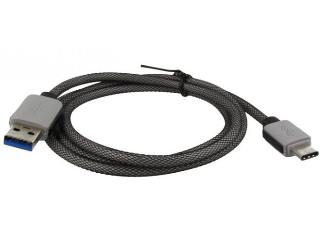 Odolný datový kabel USB-C - USB 3.0, 1m, šedý