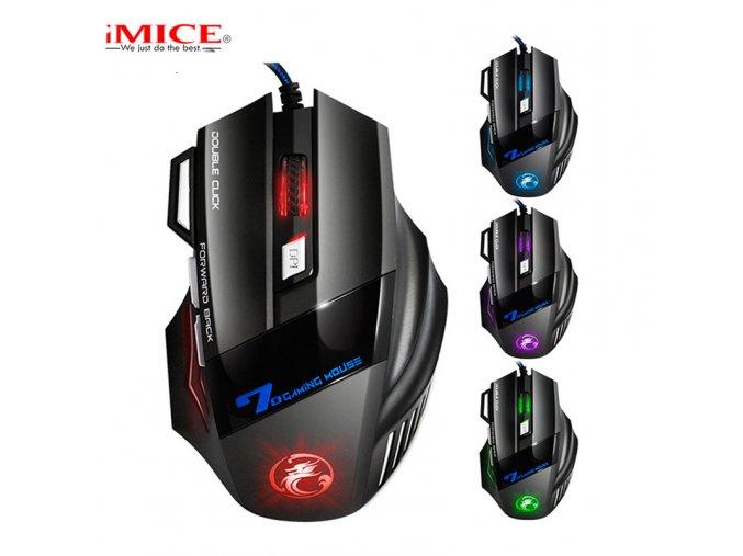 Herní myš iMice X7 Gaming s Double Click a RGB podsvícením, 3200 DPI