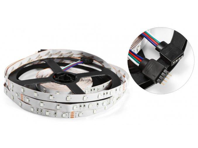 RGB LED pásek 5050, 60 diod/m, 5m + adaptér do sítě a dálkový ovladač