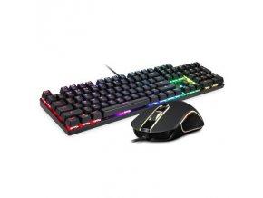 Set herní mechanická klávesnice s RGB podsvícením s myší Motospeed CK888, US layout