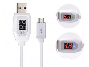 Datový kabel Lightning - USB, pro iPhone, 1m s měřičem napětí a proudu, bílý