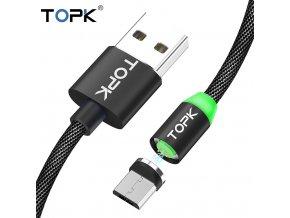 Datový magnetický kabel micro USB - USB TOPK RLine3, 1m