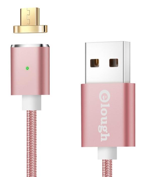 Datový magnetický kabel micro USB - USB, 1m Barva: Růžová