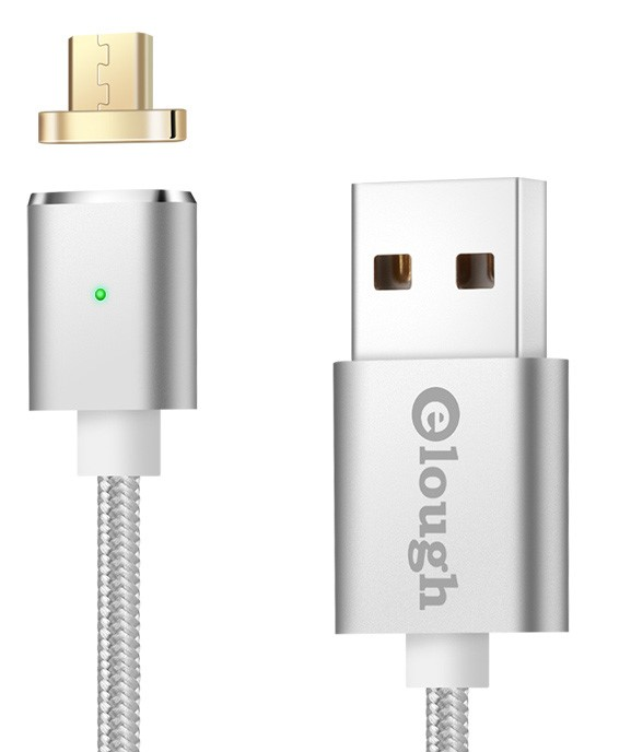 Datový magnetický kabel micro USB - USB, Elough E03, 1m Barva: Stříbrná