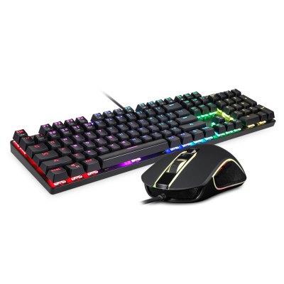Set herní mechanická klávesnice s RGB podsvícením s myší Motospeed CK888, US layout Barva: Stříbrná, černé klávesy