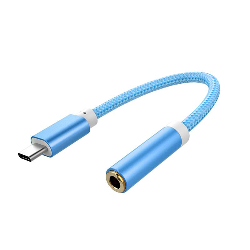 Redukce z USB-C na 3,5 mm jack, nylon-kov Barva: Modrá