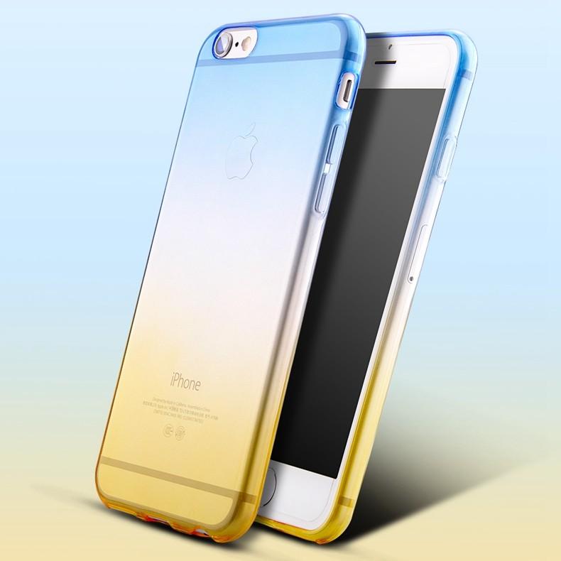 Dvoubarevný průhledný kryt (bumper) pro iPhone žlutá-modrá Model: 7 Plus / 8 Plus