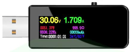 USB měřič proudu, napětí, kapacity a výkonu Atorch Color Barva: Černá