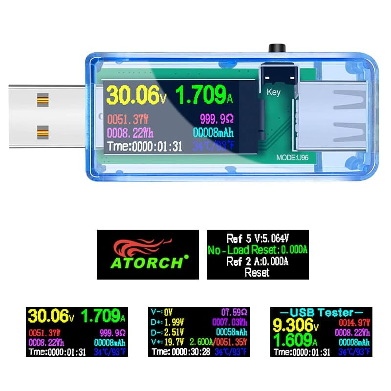 USB měřič proudu, napětí, kapacity a výkonu Atorch