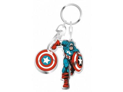 privesek na klice kovovy v krabicce captain america kapitan amerika 7 cm