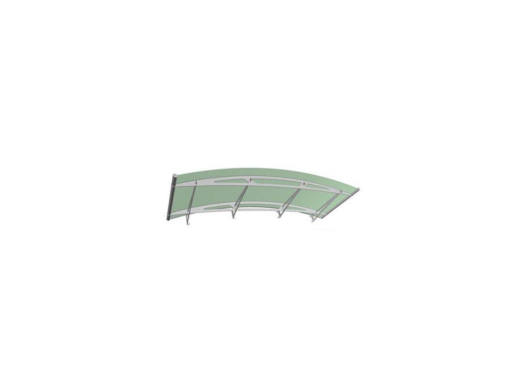 Stříška z matného zeleného akrylového skla 1900 x 910, AISI 304