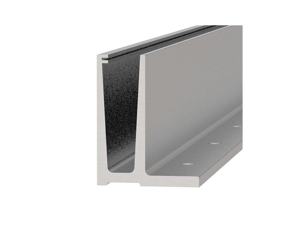 Hliníkový kotvící profil 121/45/95 mm pro sklo, v délkách 2500 a 5000mm