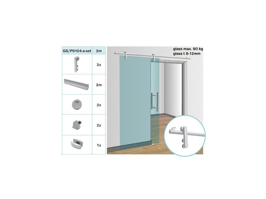 Kování pro posuvné dveře - tyč glass t 8,10,12mm, ma