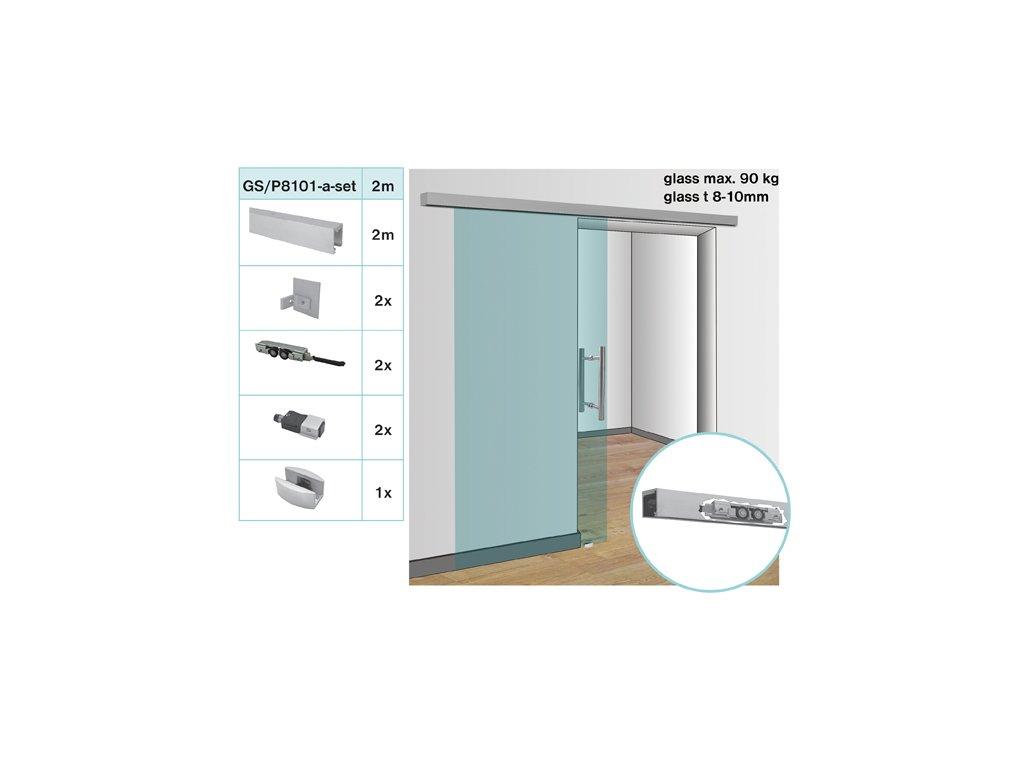 Kování pro posuvné dveře - lišta AL, 90kg / L2000mm, g