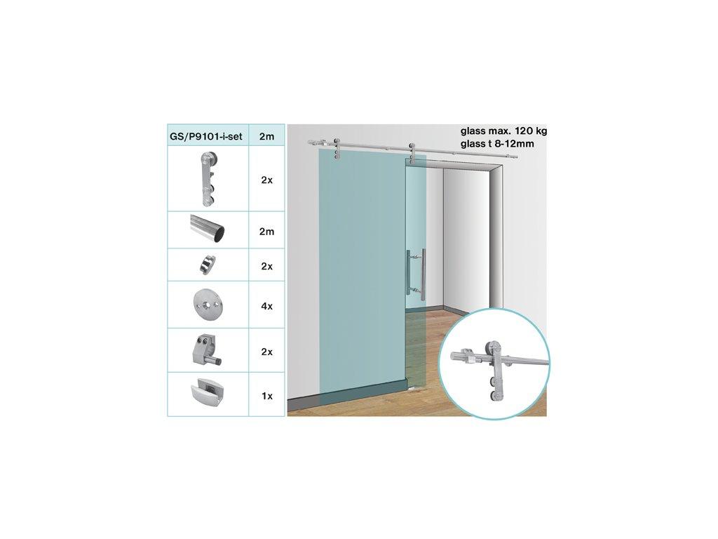 Kování pro posuvné dveře - tyč glass t 8,10,12 mm, ma