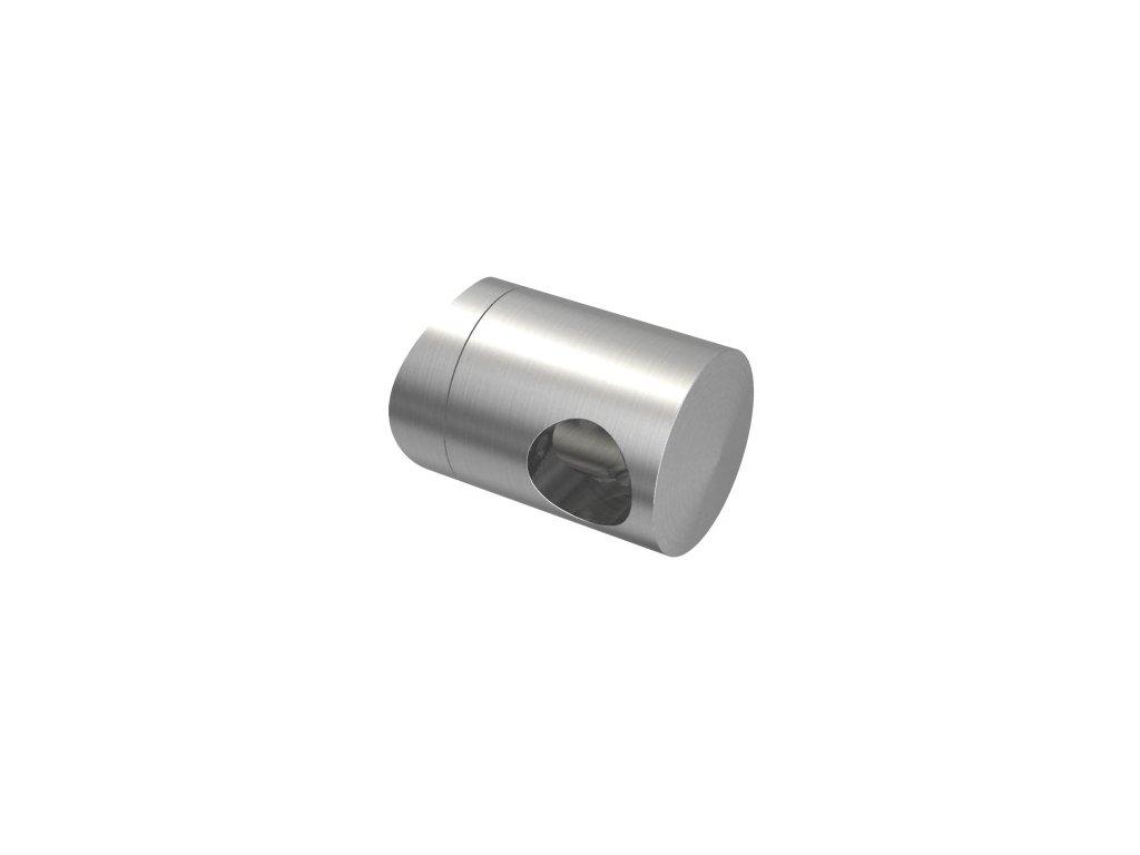 Pravý koncový úchyt pro tyč Ø12,0 mm / pro sloupek Ø33,7 mm, nerezová ocel AISI 304, brus