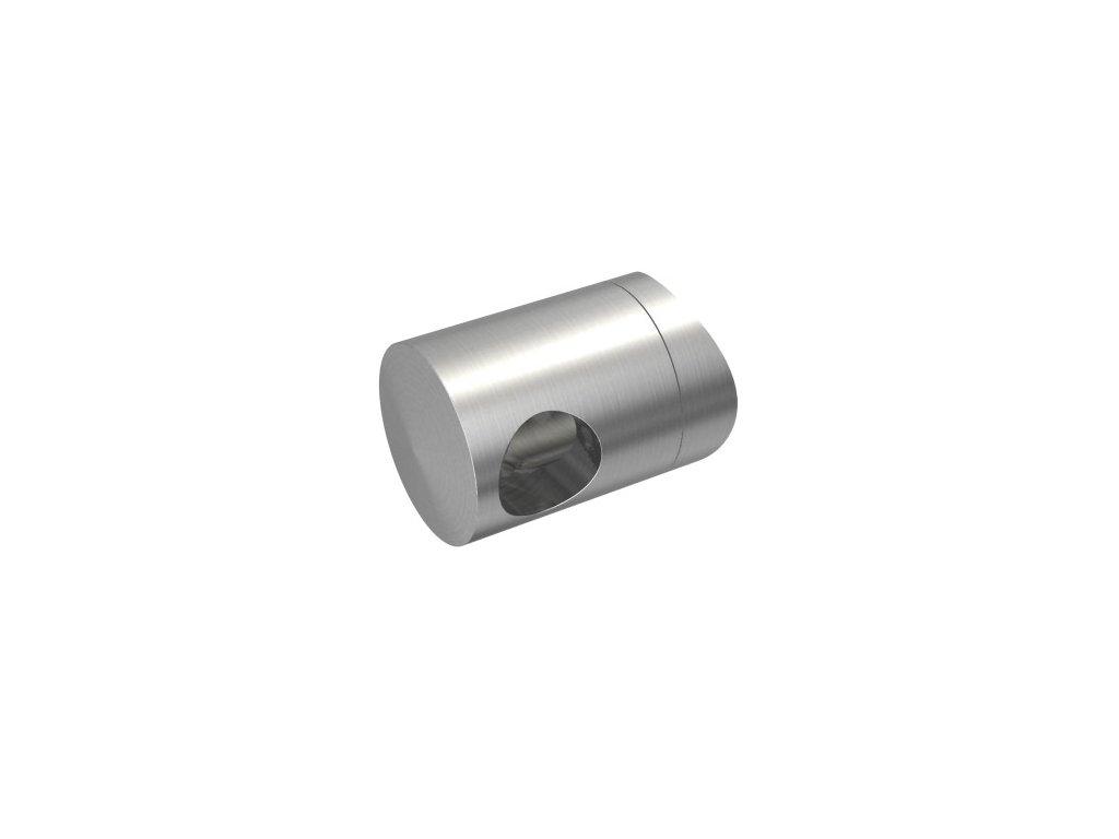 Levý koncový úchyt pro tyč Ø12,0 mm / pro sloupek Ø48,3 mm, nerezová ocel AISI 304, brus