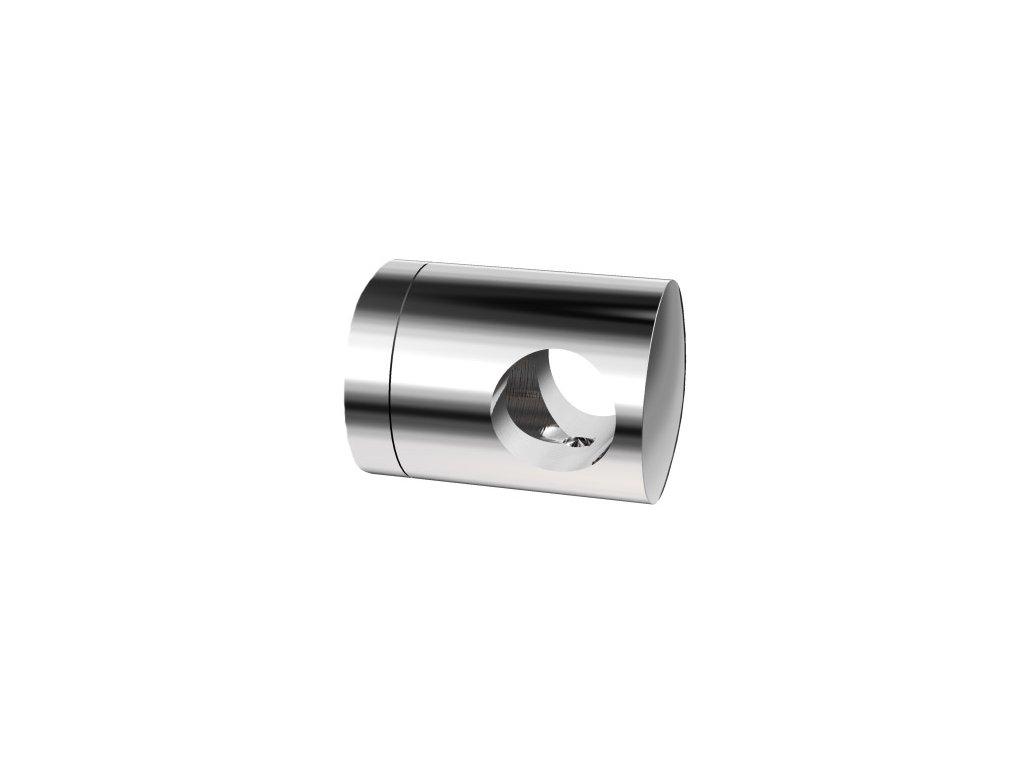 Úchyt s bočním průchodem pro tyč Ø12,0 mm / pro profil (plochý povrch), nerezová ocel AISI 304, lesk
