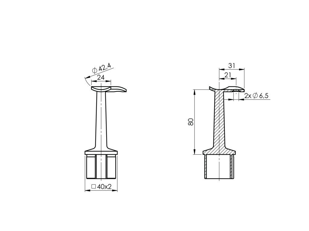 Rohová podpěra zábradlí k nalepení do profilu 40x40x2,0 mm, pro zábradlí Ø42,4 mm, nerezová ocel AISI 304, brus