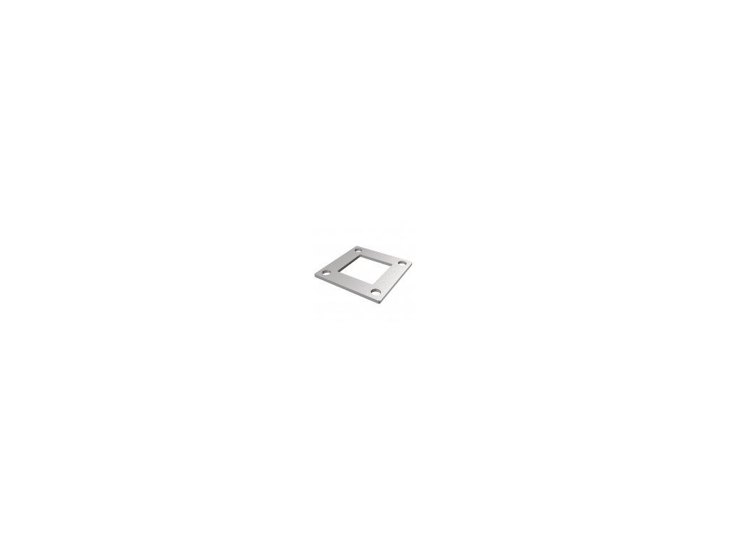 Montážní deska 90 x 90 x 4 mm pro sloupek 50 x 50 mm, nerezová ocel AISI 304, surová