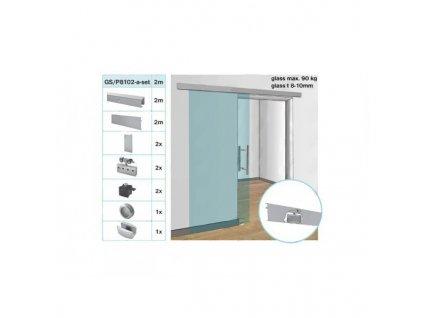 Kování pro posuvné dveře - lišta AL 90 kg / L2000 mm, g