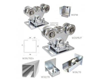 Sety pro samonosné brány do 4,5 m průjezdu Combi Arialdo W Set70/Zn-F, brány do 4,5 m a 250kg  10% sleva pro registrované zákazníky