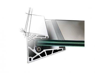 Prosklená stříška - kotvení do hliníkového profilu (100x80mm) - 1,5m