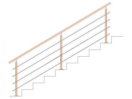 Dřevěné zábradlí na schody - set DUB (délka:3000 x výška:900mm)