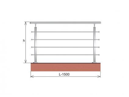 Nerezové zábradlí - set (délka:1500 x výška:900mm)