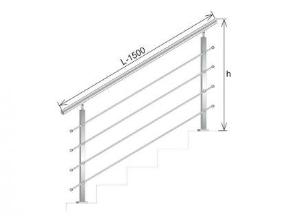 Nerezové zábradlí na schody - set (délka:1500 x výška:1000mm)