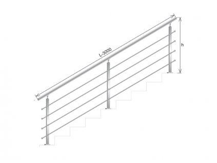 Nerezové zábradlí na schody - set (délka:3000 x výška:900mm)