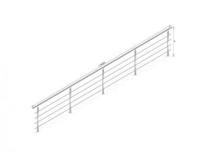 Nerezové zábradlí na schody - set (délka:6000 x výška:1000mm)