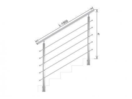 Nerezové zábradlí na schody - set (délka:1500 x výška:900mm)