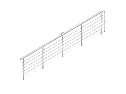 Nerezové zábradlí na schody - set (délka:6000 x výška:900mm)
